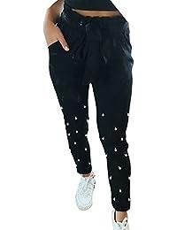 Mujer Elegantes Pantalones De Cintura Alta Primavera Verano Rosario Con  Bolsillos Con Cinturón Basicas Elastische Taille e3bd05ef2c44