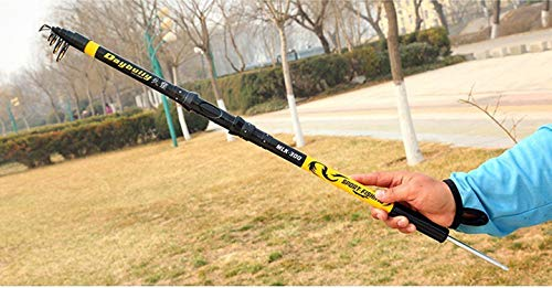 Goods-Store-uk Fishing Rods 5/6/7 Sec 2,1 m 2,4 m 2,7 m 3,0 mm 3,6 m Tragbare Carbon Tele Rock-Angelrute, Gelb, 2,4 m