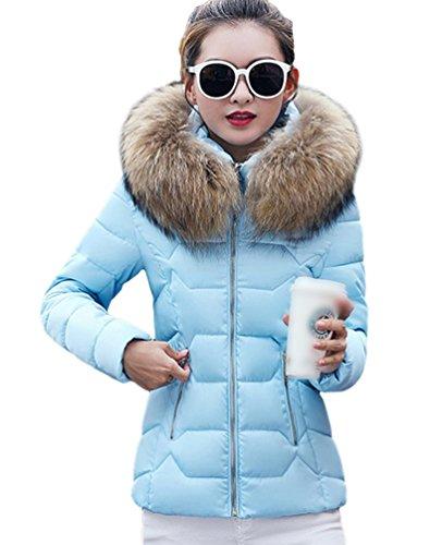 Yiiquan Femme Manteau Hiver Jacket Court Veste à Capuche Fausse Fourrure Chaud Doudoune Blouson Parka Veston Hoodie Bleu(2XL)