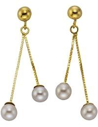 Ellen K. - 216320060 - Boucles d'Oreille Femme - Or Jaune 8 Cts 333/1000 - Perle d'eau douce