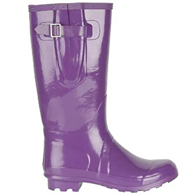 Ladies Girl Purple Gloss Wellington Boot UK8 Fashion Festival Waterproof Wellies