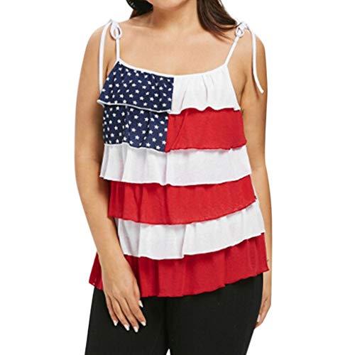 Bellelove Tank Tops Frauen Bluse Sexy Ärmellose Bluse Gestreifte American Flag Print Tank Oberteil Leibchen S-XXXL