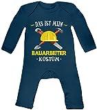 Shirt Happenz Kostüm Bauarbeiter Babybody Verkleidung Karneval Fasching Langarm Langärmliger Strampler, Farbe:Blau (Nautical Navy BZ13);Größe:12-18 Monate