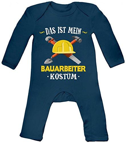 Kostüm Narr Billig - Shirt Happenz Kostüm Bauarbeiter Babybody Verkleidung Karneval Fasching Langarm Langärmliger Strampler, Farbe:Blau (Nautical Navy BZ13);Größe:12-18 Monate
