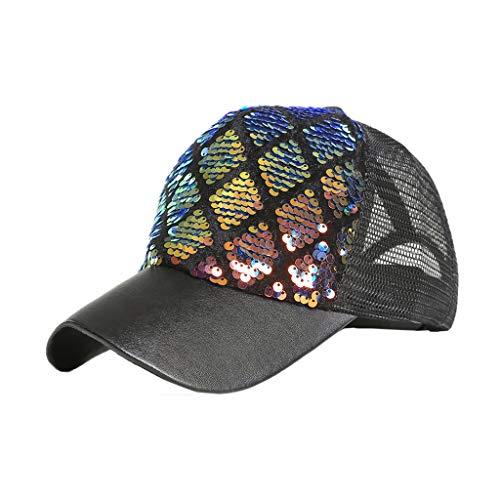 QHJ Panel Baseball Cap Unisex Mütze, Kappe für Herren Und Damen, Einfarbige Basecap, Rundum Geschlossen Im Freien Hochwertige Pailletten Farbe Baseballmützen Einstellbar Hut