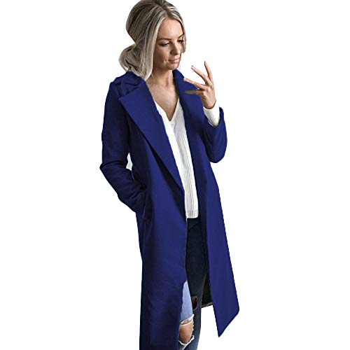 Susenstone Parka Cardigan Hiver éPais Chaud Slim pour Femmes à La Mode Manteau De Laine Pas Cher Revers Couleur Unie pour Long Pardessus Overcoat (M(EU38), Noir)