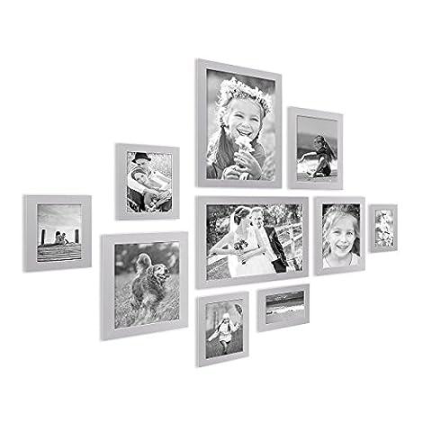 10er Bilderrahmen-Collage Photolini Basic Collection Modern Silber aus MDF inklusive Zubehör / Foto-Collage / Bildergalerie / Bilderrahmen-Set