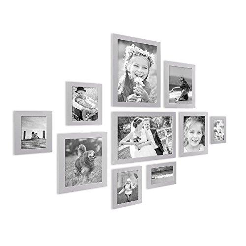 PHOTOLINI 10er Bilderrahmen-Collage Basic Collection, Modern, Silber, aus MDF, Inklusive Zubehör/Foto-Collage/Bildergalerie / Bilderrahmen-Set