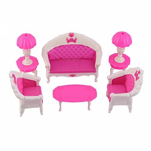 Traumhaus Spielzeug Sofa Stuhl Couch Schreibtischlampe Möbel Set, niedlichen Cartoon Kinder Spielzeug - Pink & White