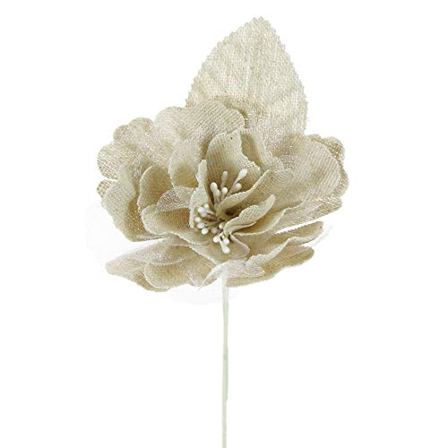 Alice's decorations bomboniere fai da te pick gardenia in cotone e voile confezione da 10 pz