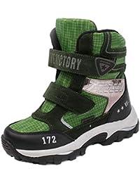 Botas de Nieve para niños otoño e Invierno cómodas Botas de Nieve Transpirables de Malla de Cuero niños y niñas Zapatos Planos Antideslizantes Resistentes al Desgaste Calzado Deportivo al Aire Libre