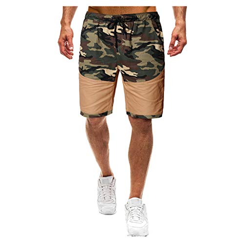 MOTOCO Herren Casual Print Shorts Sommer Sport Camo Cargo Shorts elastische Taille Tasche(XL,Khaki-2) Camo Bib Overall