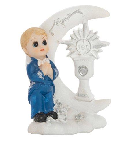 Feste Feiern zur Kommunion I Junge betend Torte Tisch Deko Weiß I Bogen mit Mond und IHS Pokal
