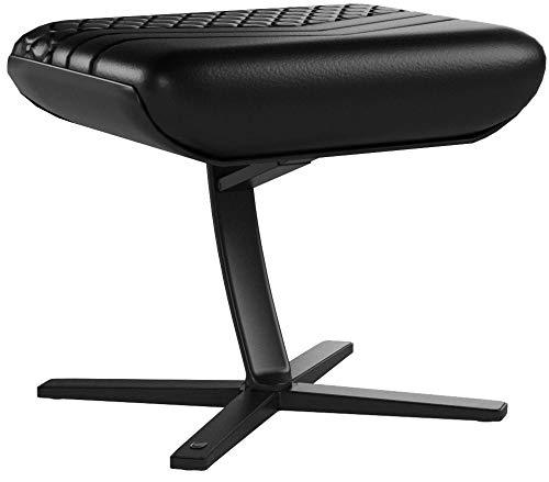 Fußstütze für Gaming Stühle, Bürostühle, Echtleder, praktische Verstellung, 360° drehbar, bis 57° neigbar, schwarz