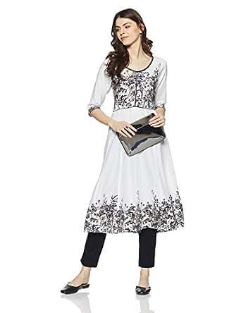 Adya Women's Anarkali Cotton Kurta (Adya 51-Ivory-M)