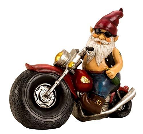 Gartenzwerg Motorrad Biker bunt Keramik XXL der Kult Zwerg als Geschenk für Weihnachten