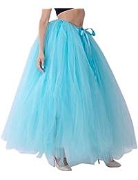 LINNUO Elegante Falda Larga de Tul Plisada Tutu Malla de Noche Fiesta Moda  Cintura Alta Elástica 8b0fe80bcd55