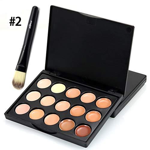 Cooljun Makeup Palette 15 Shades Concealer and Foundation Palette Fond de Teint Total Cover Teinte Universelle et pinceaux de maquillage (B)