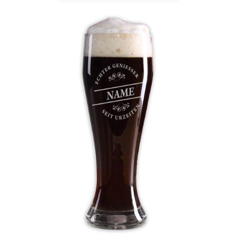 Privatglas Weizenglas (Bohemia) 500ml - Echter Geniesser - mit Gratis Gravur des gewünschten Namens