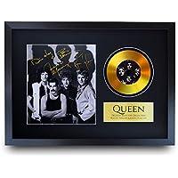 HWC Trading A3 FR Queen Freddie Mercury Brian May Gifts - Fotografía firmada con una imagen de disco dorado para aficionados a la música Memorabilia - Enmarcado A3
