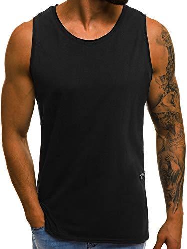 OZONEE Mix Herren Tanktop Basic Unifarben Tank Top Tankshirt T-Shirt Unterhemden Ärmellos Muskelshirt Sport O/1205 SCHWARZ XL