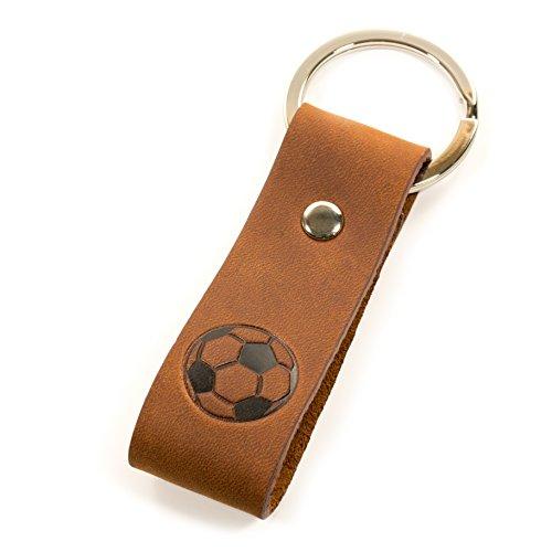 Luminick Fußball Schlüsselanhänger mit Gravur - Fußballfan - Lederanhänger - edle Geschenkbox