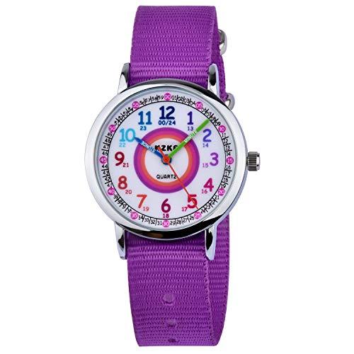 KZKR Kinderuhr Mädchen Jungen Armbanduhr Nylon Quarz Analog Einfach-Lesen Lernuhr Lila Mädchenuhr Jungen Geschenk Uhr (Lila)