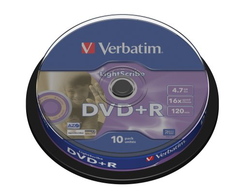Verbatim DVD+R Advanced AZO+ DVD-Rohlinge 16x 4,7 GB LightScribe Surface Version 1.2 10er Spindel