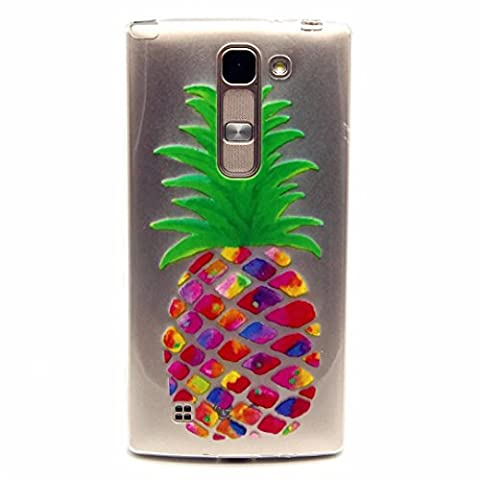 MUTOUREN LG Magna H502 /G4c H525N /G4 Mini/C90 case cover TPU Silicone Gel Case crystal clear shock proof soft durable scratch resistant Jelly Rubber TPU protective case cover shell with beautiful colorful pattern design-colorful pineapple