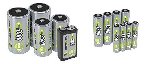 ANSMANN Akku 9V Block 200mAh NiMH mit geringer Selbstentladung - Wiederaufladbare Batterien maxE mit hoher Kapazität - 9 Volt Batterie ideal für Messgerät Multimeter Spielzeug Fernbedienung uvm.