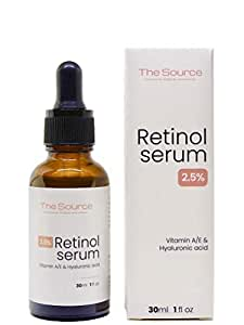 The Source, France 2.5% Retinol Serum Hyaluronic Acid Vitamin A/E 30ml Hyaluronsäure Natural Anti-anging