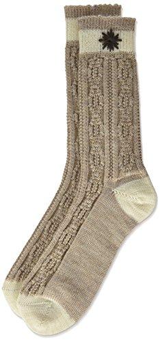 Lusana Jungen Kniestrümpfe Kinder-Socke Zweifarbig, Bestickt Beige (Beige/Natur 1325), One Size (Herstellergröße: 18-20)