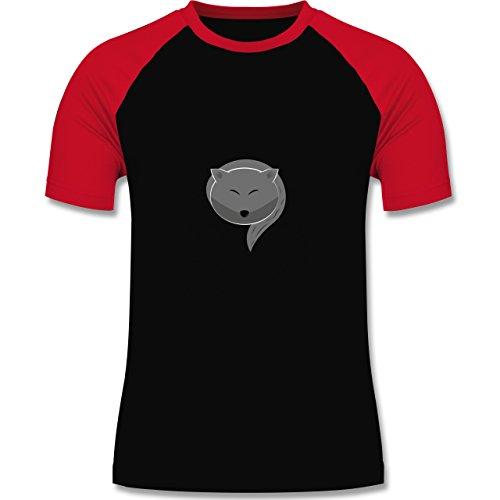 Eulen, Füchse & Co. - Kleiner Wolf - zweifarbiges Baseballshirt für Männer Schwarz/Rot