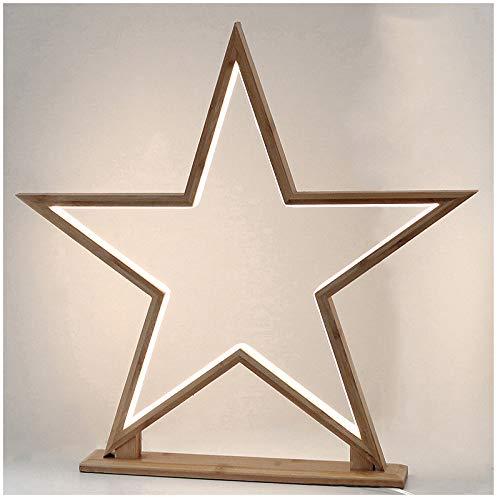Tischleuchte LED Stern 51 cm Höhe warmweiß mit Standfuß und Schalter aus Bambus Innen Tischlampe Weihnachtsstern Stehlampe Weihnachtsdeko Nachttischlampe Weihnachtsbeleuchtung Tischdeko Fensterdeko