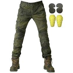 """Protection Moto Pantalon Jeans Moto Pantalon d'Équitation avec Protéger Pads Vert armée (M- (Waist 33""""))"""