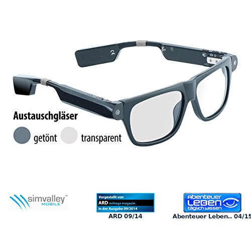 simvalley MOBILE Brillenkamera: Smart Glasses SG-100.bt mit Bluetooth und 720p HD (Brille mit Kamera Bluetooth)