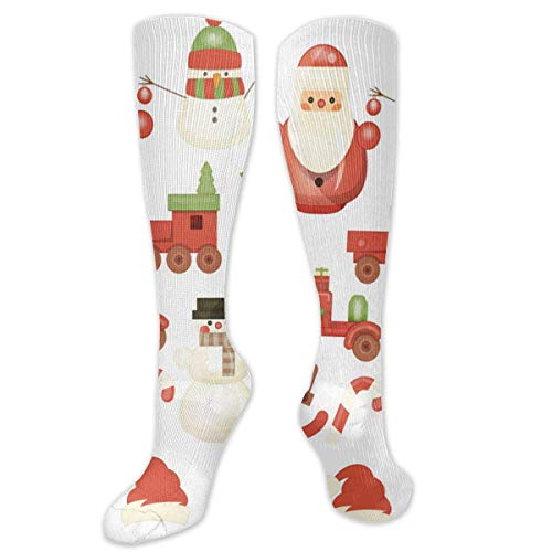 Kotdeqay Knee High Socken Christmas Pattern Santa Dog in Forest Knee High Compression Stockings Athletic Socken Personalized Gift Socken for Men Women Teens Girls