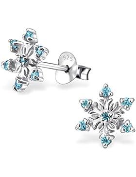 GH1a Kristall Schneeflocke Ohrstecker 925 Echt Silber Mädchen Kinder Eiskönigin Frozen Geschenkidee