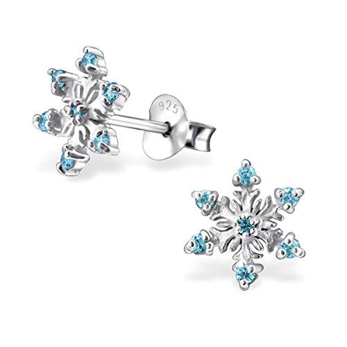 GH1a Kristall Schneeflocke Ohrstecker 925 Echt Silber Mädchen Kinder Ohrringe Geschenkidee (Aquablau) - Kristall-schneeflocke