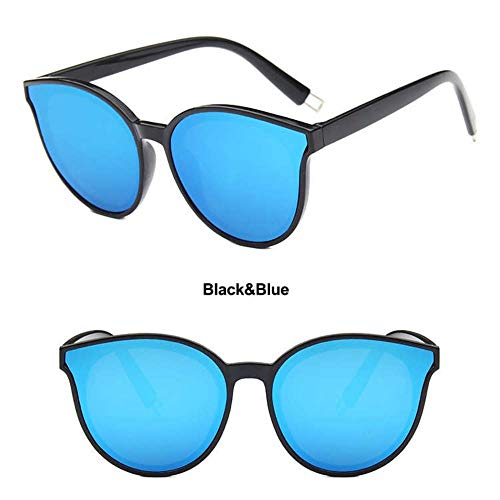 WDDYYBF Sonnenbrillen, Sonnenbrille Frauen Ozean Objektiv Retro Sonnenbrille U 400 Shopping Gafas De Sol De Los Hombres Schwarzen Rahmen, Blaue Linse