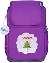 UniQBees Personalised School Bag With Name (Active Kids Medium School Backpack-Purple-XMas Tree)