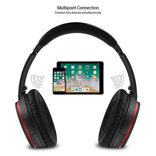Active Noise Cancelling Kopfhörer mit Bluetooth v4.1 – August EP735 – Aktive Geräusch-Unterdrückung Over-Ear (Multipoint, Mikrofon, Fernsteuerungstasten, bis zu 18h Akku) - 4
