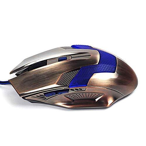 HLL USB Retro Wired Gaming Mouse (5,8 GHz 4000 DPI optische Maus Computer Gamer professionelle leuchtende Mäuse ergonomisch (Bronze)