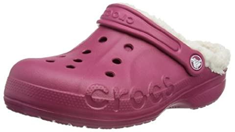 Crocs Baya Lined, Unisex-Child Clogs, Pomegranate/Oatmeal, 6/7 UK Child