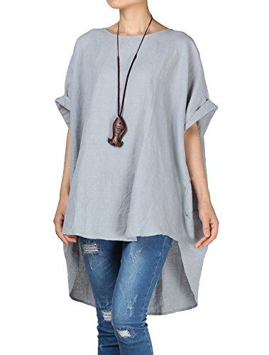 Mallimoda Damen Leinen Tunika Unregelmäßige Saum Bluse Tops Große Größen Tee T-Shirt Blau L - Leinen Bluse Top