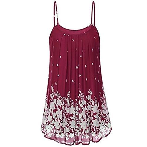 iHENGH Damen Sommer Rock Lässig Mode Kleider Bequem Frauen Röcke Hosenträger Kleid Damen Sling Print Sommer lässig(Rot, 2XL) (Flamingo Hosenträger)