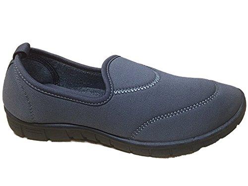 Femme Élastique Confortable Surf Chaussures Trainers Casual Marcher Décolleté Sport Chaussures Vacances Aller Chaussures Taille 4-8 Dk Gris