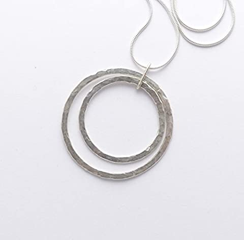 Large Sterling Silver Double Ring Necklace