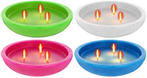 com-four® 4 große Schwimmkerzen, Dreidocht-Kerze für draußen und drinnen, Ø 16 cm (004 Stück - Schwimmkerze Mix)
