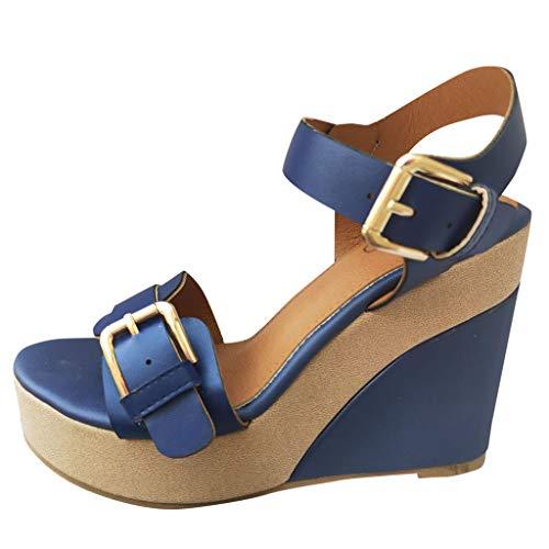 CUTUDE Damen Bequeme Plattform High Wedge Heel Sandalen Knöchelriemen Peep Toe Bequeme Schuhe (Blau, 38 EU)